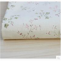 Free shipping 1m*1.4m cotton-hemp fabric cloth curtain cloth table / sofa cloth DIY cloth beige background green branches