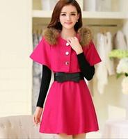 2015 Winter new korean style slom two-piece long-sleeved woolen  cloak dress bowknot