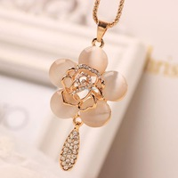 Beauty 18k Gold Flower Pendant Crystals Necklace Sweater Long Chain 2015 New Fashion Brand Jewelry Valentine's Day Gift