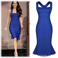 Elegant Knee-Length Sleeveness Blue Bodycon Party Club Celebrity Dresses Fasion Silm  Vestidos Femininos