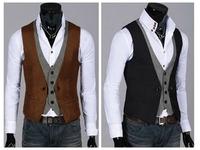 2014 New Mens Male Fashion Tops Slim Skinny Dress Vests Casual Waistcoat Sleeveless Business Jacket Size L XL XXL Hot Sale