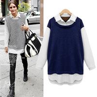 Plus size clothing autumn fashion mm colorant match chiffon fashion basic shirt t-shirt
