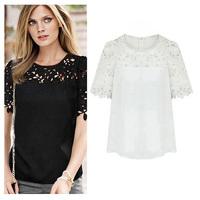 Hot !! Roupas Blusas Femininas  Summer Autumn Blouses Shirts Women Plus Size Hollow Out Short-Sleeve Lace Chiffon Tops