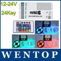12-24V 24 Keys Wireless IR Remote Control LED Music Sound Control RGB led Controller Dimmer for RGB LED Strips