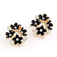 2014 Korean fashion sweet temperament flash earrings flower ear buckle/jewelry earings/black earrings gem earrings