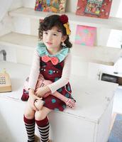 baby girl spring cute dress sets: cat dot suspend skirt+ ruffles collar bow T-shirt  princess  dress sets , Free shipping