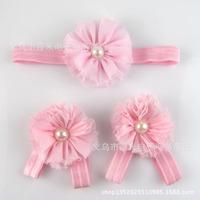 Stylish Pretty Chiffon Foot Flower Barefoot Sandals & Baby Girl Infant Toddler Pearl flower Headband