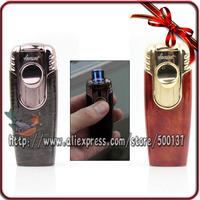 High Quality Honest Metal Double Flame Windproof Cigar Cigarette Butane Gas Torch Lighter