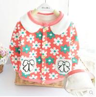 2015 New Free Shipping Winter And Spring Children Floral Pattern Plus Velvet Sweatshirts Kids Cute Hoddies Baby Girl Cardigan