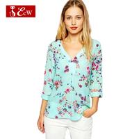 ECW New 2015 Spring Women Blouses Chiffon Fashion Women Flower Print Shirts Camisa Feminina  Shirts V neck
