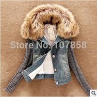 2014 New Brand Down & Parkas European Fashion Fur collar Wool Sleeve Fleece Cowboys Women Winter thick Jacket Women Warm Coat