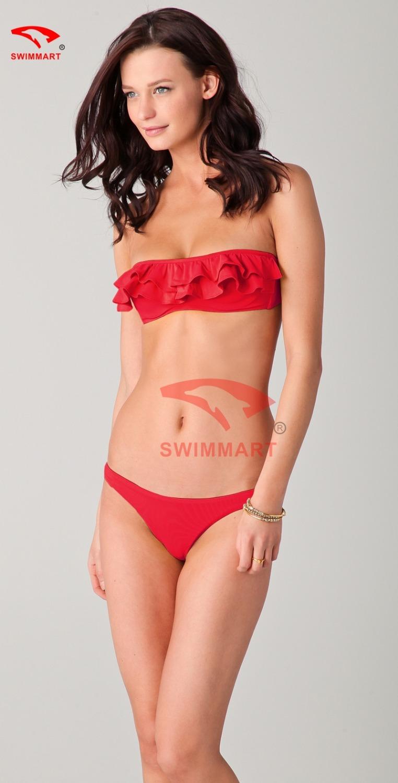 Free shipping New Fashion Push Up Sexy Red Petals Wrapped Chest Bikini Swimsuit, Girl Love Top and Bottoms Swimwear 1PCS/Lot(China (Mainland))