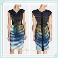 [NWT] Hot sale new Women Signature Abstract Print Stripe Dress Elegant V-Neck Work Dresses Free shipping PLUS SIZE XXL