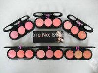 Fashion 3 Color Makeup Cosmetic Blush Blusher Powder Palette (2pcs/lot) Free Shipping