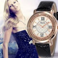 Kezzi Wristwatch Ladies Rhinestone Watch Rome Numerals Dial Casual Leather Strap Watch Women Quartz Watches montre femme
