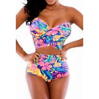 High-waisted Strapless Floral Print Bikini Costumes Set Dear-Lover LC4256