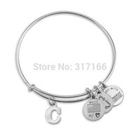 "Initial c Expandable Wire Bangle Bracelet 7.25"""