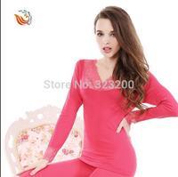 Bud silk v-neck long Johns suits female Cotton thin render seamless shape body thermal underwear women