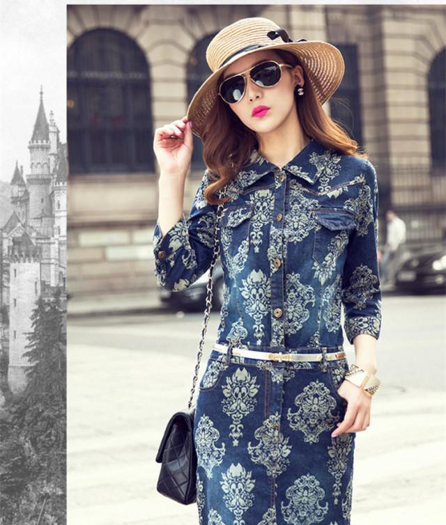Maxi dress and denim waist coat women