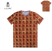 [Magic] 2015 men's new 3d t shirt Latice Biscuit printed tee short sleeve round neck casual tshirt LY234 free shipping