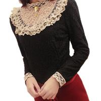 Korean style women fashion retro stand collar long sleeve lace patchwork shirts women autumn elegant slim blouse tops T4D921