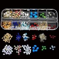 10 sets Alloy Nail Art Glitter Rhinestones Studs Pearls Nail Decorations Design Tools Jewelry Accessories Wholesale