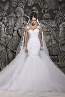 Custom Made 2015 Beautiful Court Train Illusion Transparent Back Beaded Lace Mermaid Wedding Dresses Bridal Gowns