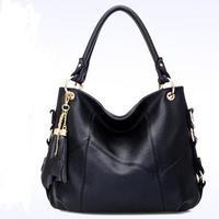 Women Handbag Genuine Leather Bag Cowhide Women Shoulder Bags Women Tassel Handbag Shoulder Bags Vintage Handbag women bag 1007
