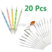 20pcs/set Professional Nail Art Styling Tools Acrylic Nail Brush Set Design Painting Pen Perfect Tools for Natural Pincel