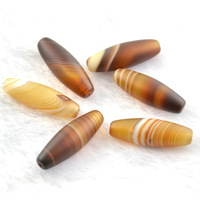 Natural Coffee Color Silk Agate Tibetan DZI Beads 10x30mm Barrel Shape Loose Beads For Jewelry Making  10pc/lot