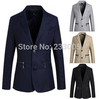 New Fashion Styles 2014 Men Blazer Zipper Designs Slim Fit Casual Suit Jacket Solid Color Cheap Mens Blazers 4 Colors M-XXL