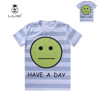 [Magic] Big Smile Face emoji 3d t shirt women Stiped casual tshirt short sleeve cotton t-shirt LY241 free shipping