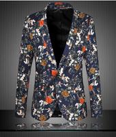 Blazer Men 2015 New Brand Spring Winter Stylish Floral Print Single Button Casual Slim Blazers Suit Jacket for Men Outwear Terno
