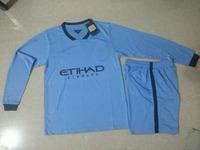 Thai Soccer Jerseys Man 14 15 Long Sleeve Uniform LAMPARD KUN AGUERO TOURE YAYA Jersey City 2015 Home Blue Soccer Kits