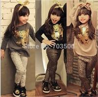Wholesale!5set/lot!2014 children clothing set baby set cartoon Full suit children' clothing girl leopard baby kids children set