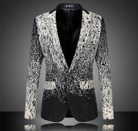 Fashion 2015 New Design Men Blazer Floral Suit Personality Casual Blazer For Men Blazer Slim Fit Jacket Men Plus Size 5XL 6XL