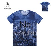 [Magic] City Building Letters print tshirts men 3d t shirt round neck short sleeve cotton t-shirt LY236 size M-XXL free shipping