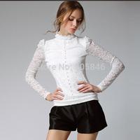 2015 New Arrival Autumn Winter European Style Fashion All Match Women Stand Collar Button Puff Sleeve Warm Velvet Baice Lace Top