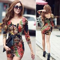 Free  Shipping  Women  Floral Print Long Sleeve Sexy Clubwear Mini Slim Dress Bodycon