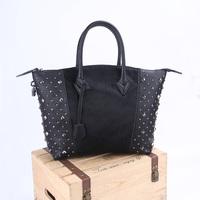Fashion genuine leather horsehair women's handbag vintage rivet big bags fashion handbag bag