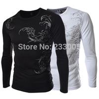 New 2014 Print Designer Long Sleeve T Shirt Men Hip Hop Tee Shirts Mens Extended T Shirt Sport Jersey Men's Casual Tshirt M-XXL