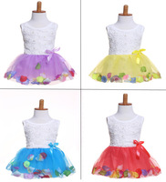 Retail New arrive 2015 girl dress for party,ball gown sleeveless wedding dress,fashion tutu layered,flower belt,kids clothes
