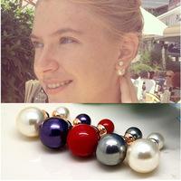 New Fashion Paragraph Hot Selling Earrings 2014 Double Side Shining Pearl Stud Earrings Big Pearl Earrings For Women