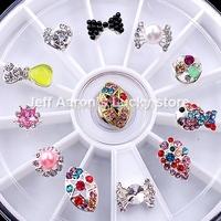 12 Mixed Styles Nail Art Glitter Rhinestones Wheel Metal Bow Tie Nail Decorations Design Tools Jewelry #14