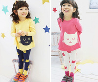 FreeShipping 2014 New Spring Autumn Kids Girl Clothes Set Cat T Shirt And Color Leggings Children Clothing Sets 2 Colors