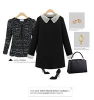 Autumn Winter Casual Women Dress 2015 New Fashion Lace Long Sleeve Ladies Casual Dresses Black Plus Size XXL XXXL
