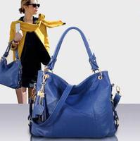 2015 Women Genuine Leather Bag Women's Tassel Bag fashion Shoulder Bags Vintage Handbag Women Tote Crossbody Messenger Bags 1017