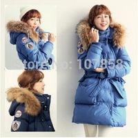 2014 New Hot sell Brand Down & Parkas European Fashion Raccoon Fur collar Women Winter thick Hooded Jacket Women Warm Coat