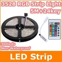 5M 3528 SMD 300leds RGB led strip and 24key ir remote controller DC12W Christmas Home decorative flexible strip light