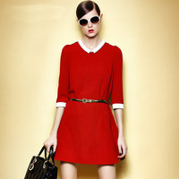Small lapel temperament casual loose dress (with belt )